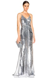 Kaufman Franco Kaufmanfranco Fishscale Sequin And Silk Gown In Gray Metallics