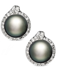 Macy's 14K White Gold Earrings Cultured Tahitian Pearl 11Mm And Diamond 3 4 Ct. T.W. Stud Earrings