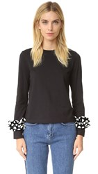 Edit Long Ruffle Sleeve Tee Black Polka Dot