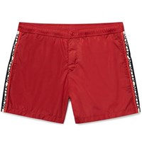 Moncler Mid Length Grosgrain Trimmed Swim Shorts Crimson
