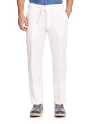 Saks Fifth Avenue Linen Drawstring Pants White