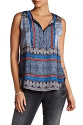Gypsy 05 Sleeveless Button Bib Shirt Tale Tank Blue