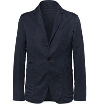 Aspesi Blue Unstructured Cotton And Linen Blend Twill Blazer Navy