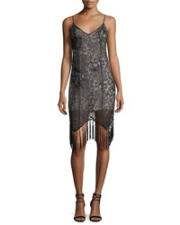 Haute Hippie Embellished Lace Sleeveless Flapper Cocktail Dress Black