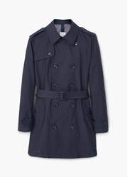 Mango Tango5 Classic Cotton Trench Coat Navy