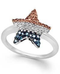 Macy's Diamond Flag Star Ring In Sterling Silver 1 4 Ct. T.W.