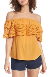 Socialite Women's Crochet Off The Shoulder Top Mustard