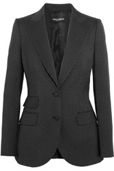 Dolce And Gabbana Polka Dot Wool Blazer Black