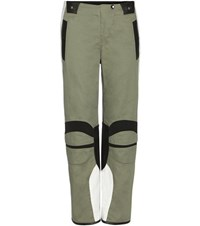 Rag And Bone Banx Leather Trimmed Cotton Trousers Green