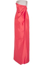 Raoul Serena Draped Silk And Cotton Blend Crepe Gown Bright Pink