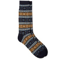 Anonymous Ism Fair Isle Crew Sock Light Blue