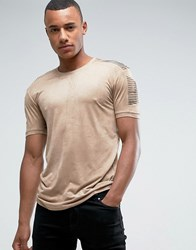 Loyalty And Faith Suedette T Shirt With Sleeve Detail Beige