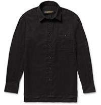 Freemans Sporting Club Linen Shirt Black
