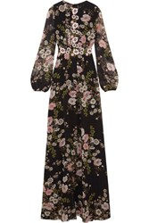 Giambattista Valli Appliqued Floral Print Silk Georgette Gown Black