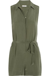 Equipment Earl Washed Silk Playsuit Green