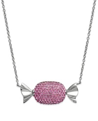Sis By Simone I Smith Platinum Over Sterling Silver Necklace Pink Crystal Candy Pendant
