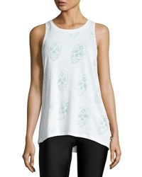 Terez Sugar Skull Burnout Racerback Tank Top White
