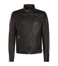 Ralph Lauren Lightweight Leather Biker Jacket Male Black