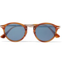 Persol Round Frame Acetate And Silver Tone Sunglasses Tan