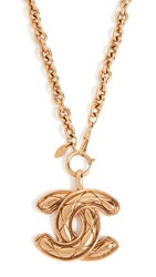 Wgaca What Goes Around Comes Around Chanel Quilted Large Cc Necklace Yellow Gold
