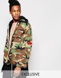 Reclaimed Vintage Camo Bdu Jacket With Patches Camo