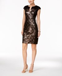 Connected Petite Sequined Panel Sheath Dress Gold Black