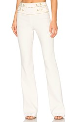 Balmain High Waist Wide Leg Pant White