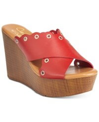 Callisto Darcii Platform Wedge Sandals Women's Shoes Red