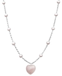Macy's Sterling Silver Necklace Pink Cultured Freshwater Pearl 5 6Mm And Rose Quartz Heart Pendant 18 Ct. T.W.