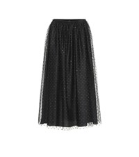 Red Valentino Dotted Tulle Midi Skirt Black