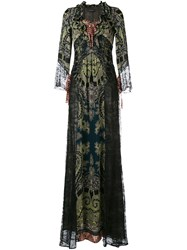 Etro Lace Panel Maxi Dress Green
