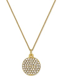 Macy's Kate Spade New York Gold Tone 'All That Glitters' Crystal Pave Disc Pendant Necklace