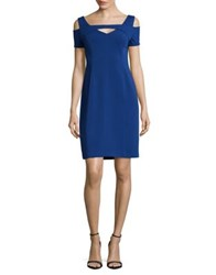 Nue By Shani Solid Cold Shoulder Sheath Dress Peacock