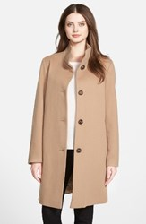 Fleurette Women's Cashmere Stand Collar Car Coat Camel
