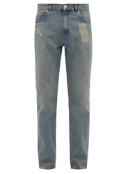 Martine Rose Faded Straight Leg Cotton Jeans Blue