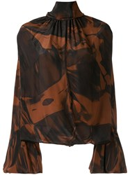Camilla And Marc Rowe Floral Print Draped Blouse Brown