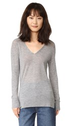 M.Patmos Playa Cashmere V Neck Sweater Grey Heather
