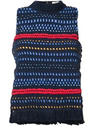 Sea Knitted Tank Top Blue