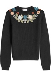 Red Valentino Virgin Wool Pullover With Crochet Appliques Black