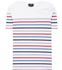 A.P.C. Striped Cotton T Shirt Multicoloured