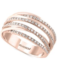 Effy Collection Pave Rose By Effy Diamond Statement Ring 1 3 Ct. T.W. In 14K Rose Gold
