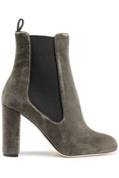 M Missoni Velvet Ankle Boots Army Green