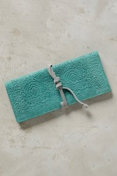 Anthropologie Embossed Suede Pencil Pouch Turquoise