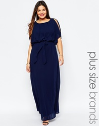 Club L Plus Maxi Dress With Fluted Sleeves Navy