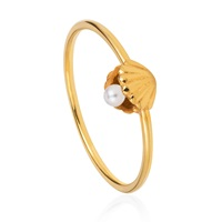 Lee Renee Shell And Pearl Ring Gold Vermeil Gold White Yellow