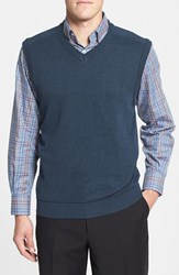 Men's Cutter And Buck 'Broadview' Cotton V Neck Vest Navy Heather
