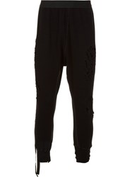 Unravel Distressed Tapered Trousers Black
