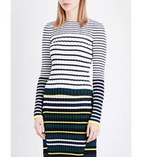 Pringle Of Scotland Striped Ribbed Knit Jumper Off White Midnight