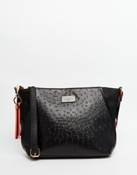 Pauls Boutique Cross Body Bag In Ostrich Effect Blackcoral