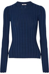 Acne Studios Carin Ribbed Merino Wool Blend Sweater Storm Blue